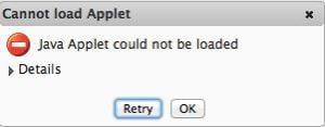 cannot load applet java error
